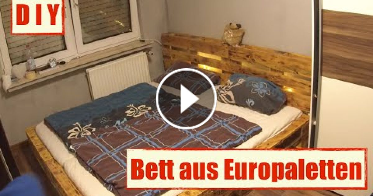 genial paletten bett mit led beleuchtung selber bauen. Black Bedroom Furniture Sets. Home Design Ideas
